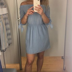 Small blue off the shoulder dress